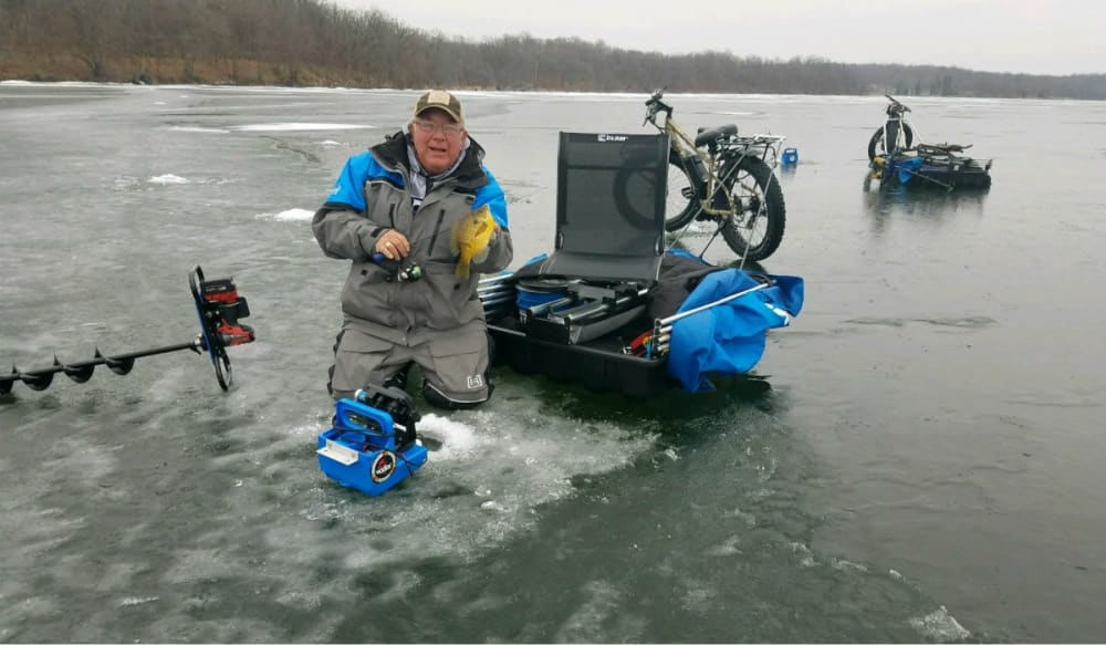 Videos using a rambo fat tire motor bike for ice fishing for Ice fishing videos