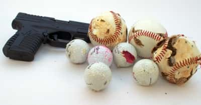 Old golf and baseballs make excellent Range Junk Jamboree targets. Sorry, outdoor ranges only!