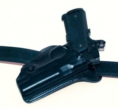 A holster with aggressive cant, or forward lean, can help with a lot of hiding as the grip is angled more vertically. Note how severe the cant is on this BLACKHAWK! Check-Six holster for a full-size 1911.