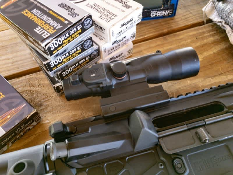 I used this Trijicon 3x30 ACOG scope that's optimized for 300 Blackout use.